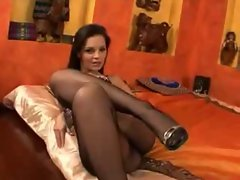 EVE ANGEL BLACK PANTYHOSE SHOW