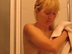 hairy mature with saggy empty  titties in bathroom