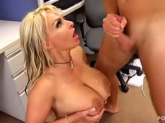 Holly Halston catches huge load on amazing tits