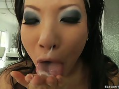 Asa Akira hot chick spooge hard with cum on face