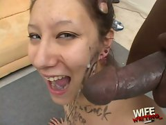 Cute slut Lilly Ann face shot with warm goo