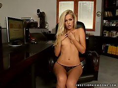 Sophie Moone blonde boss with only thong on