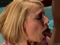 Sizzling Mellanie Monroe gags on a massive black boner