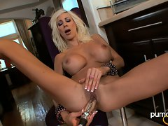 Puma Swede babe dildo her cunt while sitting on chair