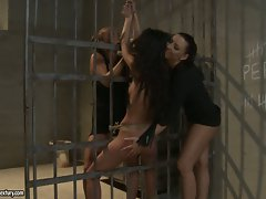 Maria Bellucci and slut tie hot chick in the prison