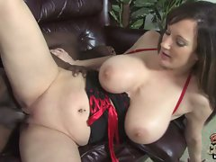 Stephanie Wylde lying on the couch and screwed hard