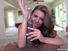 Danica Dillan measuring a long dick by her arm