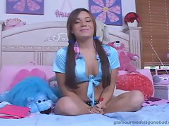 Jaclyn Case busty babe alone in her room with lollipop