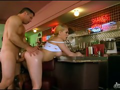 Kagney Karter slap and tickle with a long man's pole