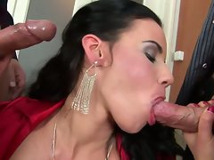 Sexy bitch gets double gaged with beefy cocks