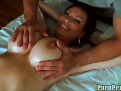 Diamond Foxxx have a soft massage on her big boobs