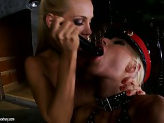 Puma Swede and Vega Vixen hot lady guards dildo sucking