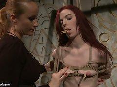 Katy Borman slutty babe tie the naked body of a hot ba