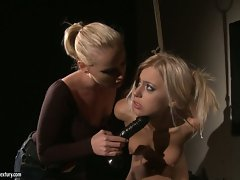 Kathia Nobili tied with a rope by a lesbian freak