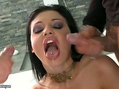 Aletta Ocean likes the awesome shot she gets dripping on her sexy mouth