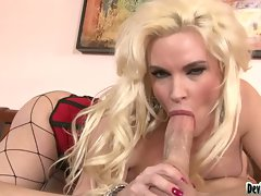Cougar Diamond Foxxx sexily sucks on her lover's thick shaft before a hot fuck