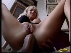Two Euro sluts anally fucked in a foursome