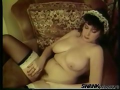 Vintage French maid with big boobs cleans