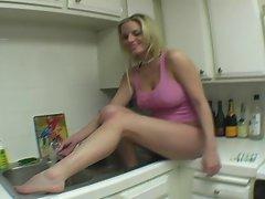 Bathing sexy soft feet in the sink