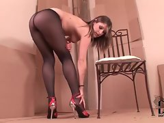 An erotic and beautiful pantyhose tease