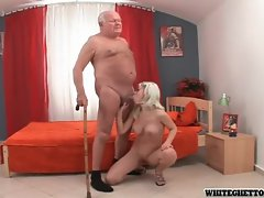 Grandpa getting pleasured by busty blonde babe