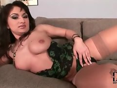 Sexy girl in lingerie plays with her tits
