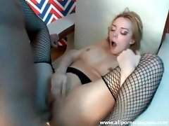Fair skinned blonde hottie in fishnet stockings ass drilled