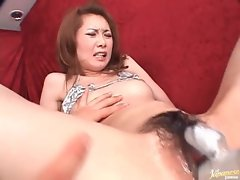 Gooey Japanese pussy and ass toy fucked