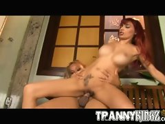 Horny redhead babe enjoys getting fucked by blonde shemale
