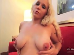 Chubby milf with nice titties stripping down