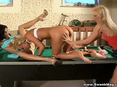 Three lustful lesbian ladies fucking on pool table
