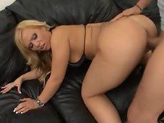 Big ass blonde in shiny bikini hardcore scene