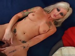 Tattooed blonde milf sucking and fucking cock