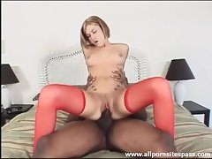 Slim tattooed girl shafted by his black meat