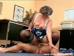 Granny gives up the pussy to younger man