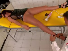Linet is a lovely nurse with sexy long slim legs.