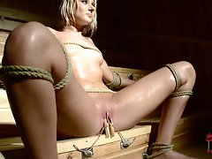 Blonde Viktoria Diamond is a bandage babe in the sauna.