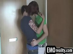 Two crazy tattoed emo twinks in their room alone