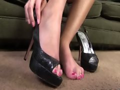 Dirty slut black cock footjob fetish action