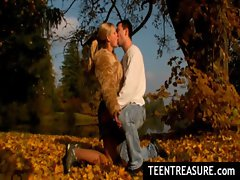Teen couple in cottage making love