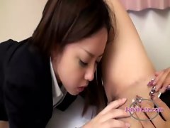 Office Lady Getting Her Hairy Pussy Licked Fucked With Strapon By Other Lady On The Bed In The Bedro
