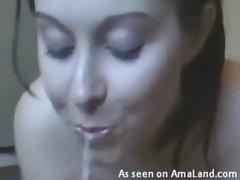 Teen GF Gets Cum in Her Nose!