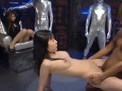 Japanese slaves sucking dick on knees