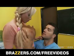 Sweedish blonde bombshell with perfect tits fucks her teacher