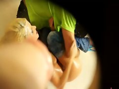 Dirty blond gets fucked on bathroom floor after being drenched