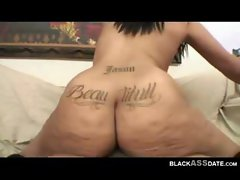 Hot ebony babe with big ass tattoo drilled