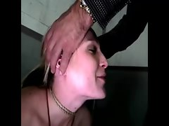 He does not want her back talk so he puts his dick in her mouth