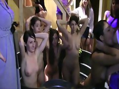 Dirty college sluts ride dildos in front of a crowd