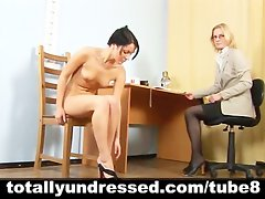 Tough nude job interview for sexy brunette babe