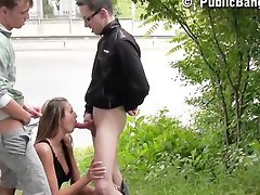 Gorgeous young teen in public street sex